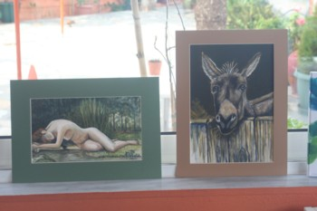 A coupleof paintings on display at a recent students exhibitiion at Plaka, near Chania, Crete